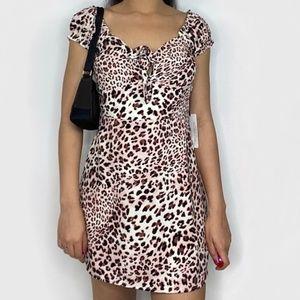 La Cotton Candy Blush Mini Leopard Print Dress M